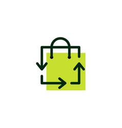 shopping bag recycle logo icon vector image