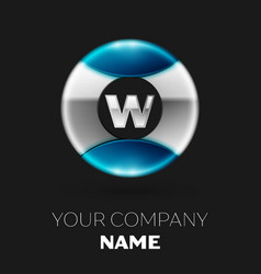 silver letter w logo symbol in silver-blue circle vector image