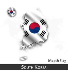 south korea map and flag waving textile design vector image