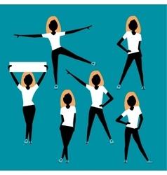 Sport women silhouettes set vector image