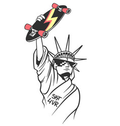 statue of liberty holds skate in hand skate board vector image