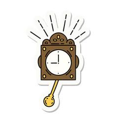 Sticker tattoo style ticking clock vector
