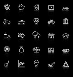 Sufficient economy line icons with reflect on vector