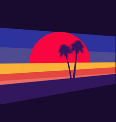 sunset with palm trees on the background style vector image
