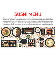 Sushi menu and japanese food banner seafood and vector