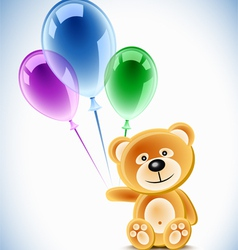 Teddybear holding transparent balloons vector