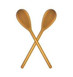 Two crossed wooden spoons vector