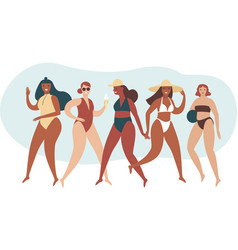 various body positive girls wearing swimwear vector image