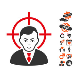 Victim businessman icon with valentine bonus vector