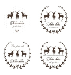 Vintage Labels Collection with Deers vector image