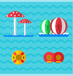 water aquapark playground with slides and splash vector image