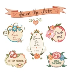 Wedding badge collection Set of flowers frames vector