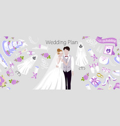 wedding plan agency with bride and bridegroom vector image