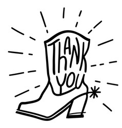 western thank you card thanks card with cowboy vector image