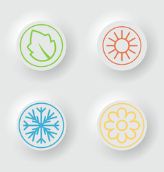 white buttons with nature seasons vector image