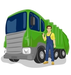 worker next to recycling garbage collector truck vector image