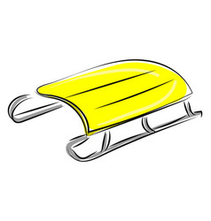 Yellow winter sled on white background vector
