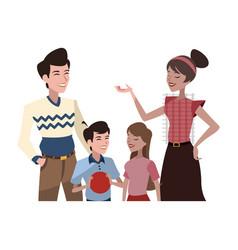 happy family cartoon icon vector image