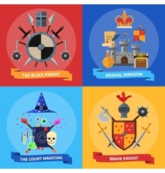 Knights concept 4 flat icons square vector image vector image