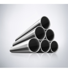 Stack of Metal Pipes vector image vector image
