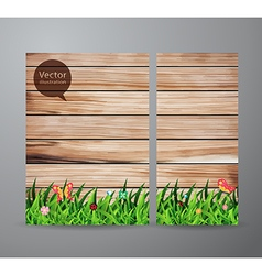 brochure business green grass over wood fence vector image vector image