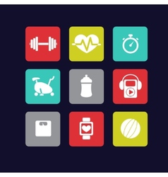 Fitness icons white vector
