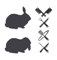 Isolated rabbits on a white backgroud vector image vector image