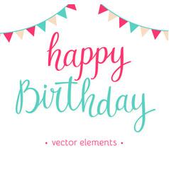 Modern hand drawn lettering happy birthday vector