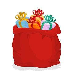 Red Sack Santa Claus with gifts Holiday outdoor vector image