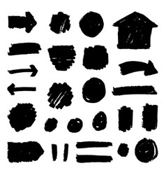 set of hand drawn paint badges vector image vector image