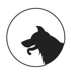 Silhouette of a dog head german shepherd vector image vector image