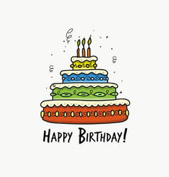 birthday cake postcard for your design vector image