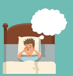 cartoon young man smile sleep bed vector image
