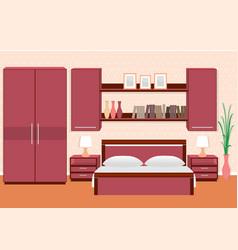 elegant bedroom interior with furniture vector image vector image