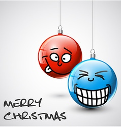 Funny Christmas baubles with faces vector image vector image