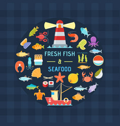 Seafood and fish banner vector