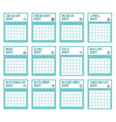 simple calendar 2017 vector image vector image