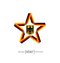Star with germany flag colors and coat of arms vector