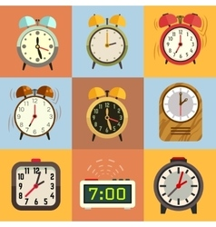 Alarm clock flat icons vector image vector image