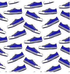 blue textile youth sneakers with white laces vector image