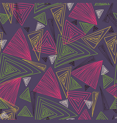 multicolored triangles hand drawing vector image vector image