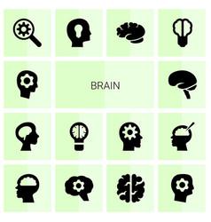 14 brain icons vector image