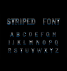 3d striped font on black background vector