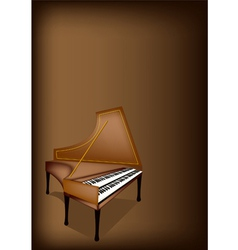 A Retro Harpsichord on Dark Brown Background vector image