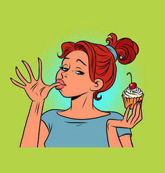 a woman eats sweet licks her fingers ice cream vector image