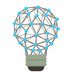 abstract polygonal light bulb icon cartoon style vector image