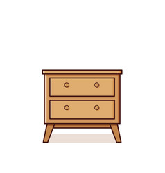 Bedside table icon in flat design retro style vector