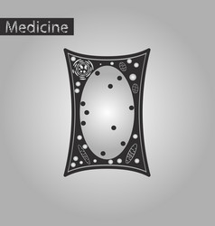 Black and white style icon of plant cell vector
