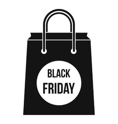 Black Friday shopping bag icon simple style vector
