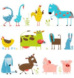 Brightly Colored Fun Cartoon Farm Domestic Animals vector image